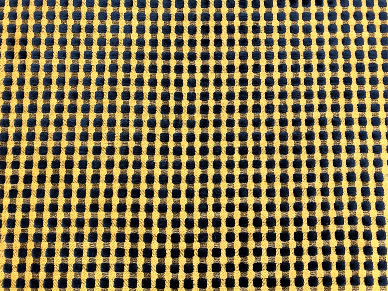 Lee Jofa Navy Blue Beige Cut Velvet Geometric Check Upholstery Fabric WHS072