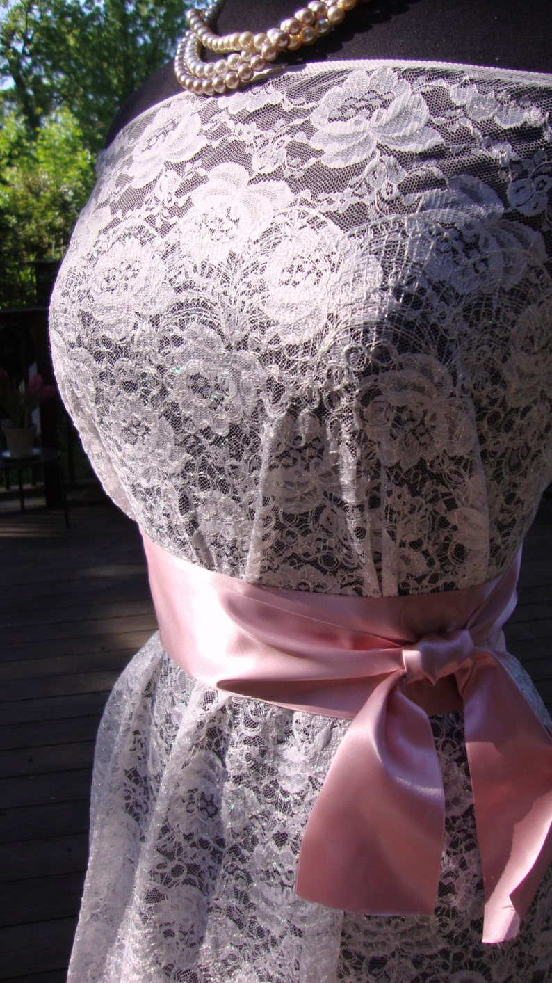 2 Yards of 56 Wide Pale Pink Embroidered Metallic Lace Iridescent Lace Bridal Lace Wedding Lace Prom Dress Antique Style Lace  0JM32