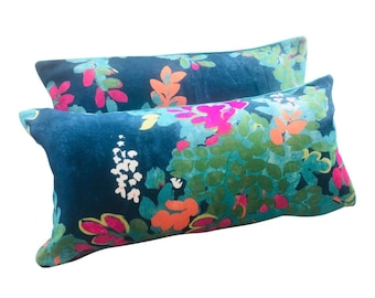 """12"""" X 23"""" Thibaut Central Park Navy Blue and Pink Teal Yellow Orange Floral Lumbar Pillow Covers - a Pair"""