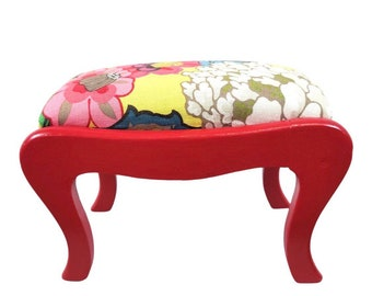 Antique Red Lacquered Stool Upholstered in Schumacher Chiang Mai Dragon Yellow Linen