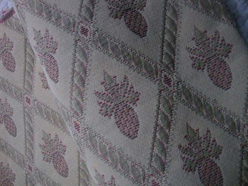FREE US SHIP 55 Wide Cotton Cream and Caramel Diamond Print Fabric Pineapples Tropical Fabric for Upholstery Headboard Home Decorator