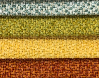 2 Yds Min Designer Woven MCM Mid Century Modern Tweed Mint Green Yellow Orange Upholstery Fabric ETX-Empire