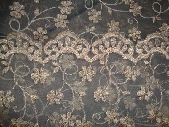 14 yards vintage ivory sheer organza embroidered edge  trim 1 3//8 great 4 veils