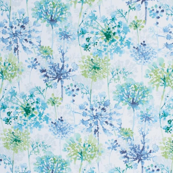 """Toile Pattern Cotton Voile Fabric 44"""" Width Blue Curtain Material Sew By 1 Yd"""