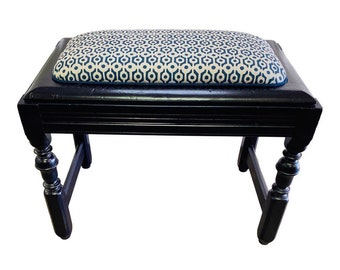 Antique Bench in Navy Blue Upholstered in Galbraith & Paul Links Midnight on Logan Linen Fabric