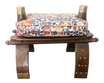 1960s Vintage Camel Seat Stool in Lee Jofa Suzani Turkistan Indigo Laminated Linen