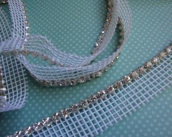 "Breathtaking sparking crystal rhinestone 3/8"" (9.5mm) trim white netting edge by the yard white mesh (Made IN CZECH REPUBLIC )"