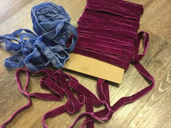 "VINTAGE 5//8/"" VELVET ribbon MADE IN ENGLAND 3 yds RICH ROYAL PURPLE"