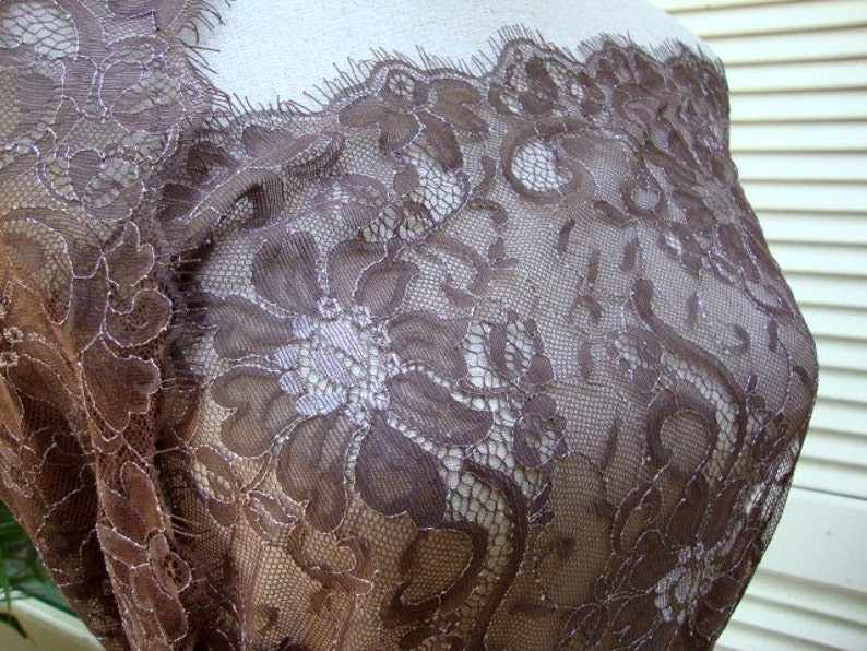 45 Wide Shimmery Silver and Brown Lace Fabric Floral Lace Tulle Lace Lace Bridal Wedding Fashion Fabric Silver Metallic Lace RL