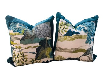 """21"""" X 21"""" Thibaut Daintree Embroidery Bluemoon & Teal Performance Velvet Pillow Covers - a Pair"""