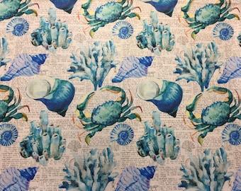 "54"" Wide Nautical Beach Tropical Coral Pattern Shells Crab Sea Creatures Newspaper Print Aqua Green Teal Royal Blue Upholstery Drapery IL10"