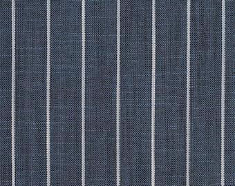 Heavy Duty Navy Blue Off White Ticking Stripe Pattern Upholstery Drapery Fabric