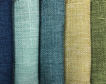 Mid Century Modern MCM Textured Lustrous Upholstery Drapery Fabric Navy Blue Aqua Blue Teal Blue Lime Green Moss Green RMC-Prelude