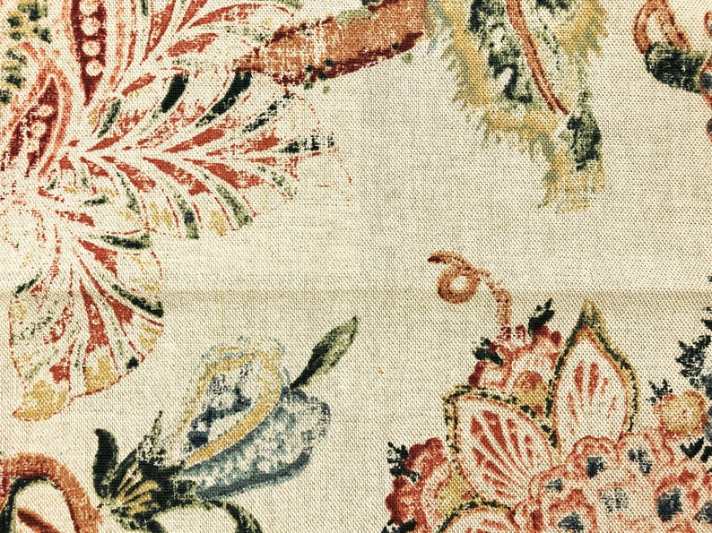 Cotton Rayon Distressed Jacobean Floral Beige Green Rusty Red Blue Mustard Stain Resistant Upholstery Drapery Fabric