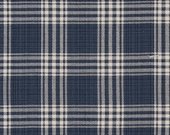 Heavy Duty Cotton Navy Blue Off White Woven Plaid Check Nautical Upholstery Drapery Fabric CB800-230