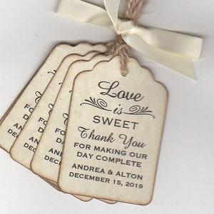 75 Love is Sweet  Personalized Handmade Tags-Wedding Wish Tags-Honey jar JellyJam tags-Favor tags
