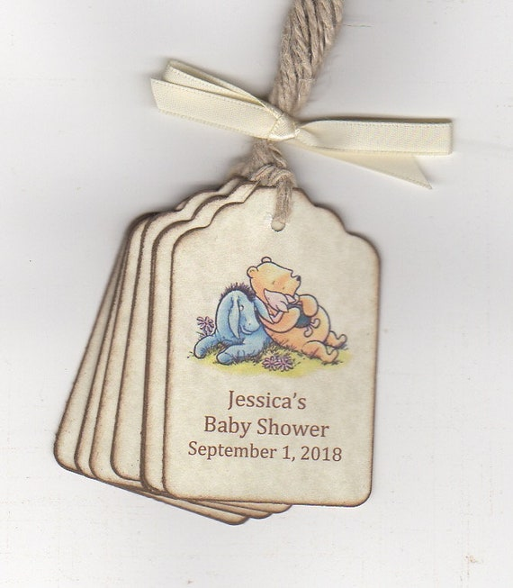 Set of 10 Winnie the Pooh Baby Shower Favor Tags//Party Tags All Wording Customized