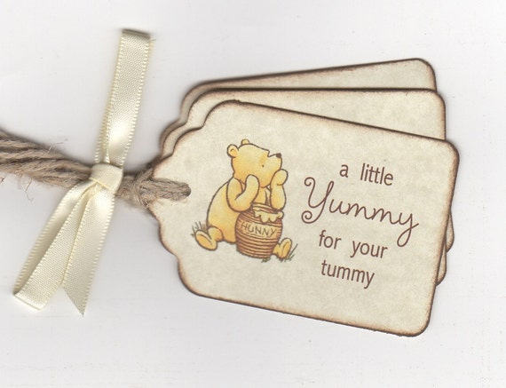 Classic Winnie Pooh Baby Shower Tags For Favors And Gifts A Little Yummy For Your Tummy Tags For Honey Jars Candy Cookie Favors Set Of 20