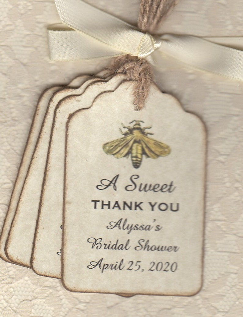 A SWEET THANK YOU Wedding Favor Thank You Gift Tags Honey Jar Pot Wedding Shower Favor Label Tags Vintage Style Set of 50 Tags