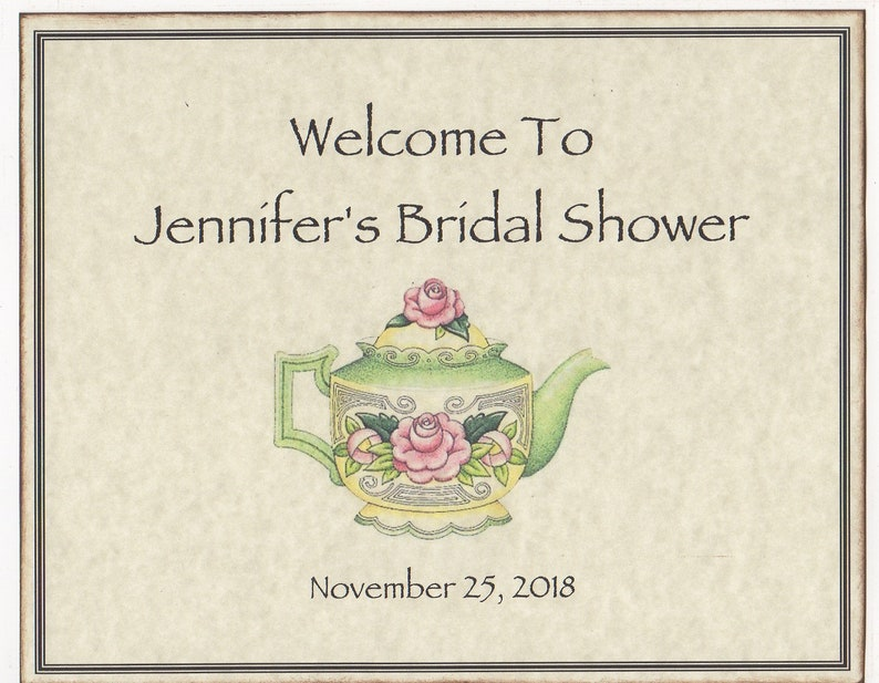 9a63acaed368 Bridal Shower Tea Party Tea Pot Wedding Welcome Sign Wedding