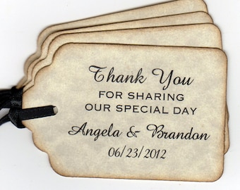 50 Wedding Favor Gift Tags Shower Favor Tags Personalized Thank You Labels Hang Tags - Rustic Vintage Style