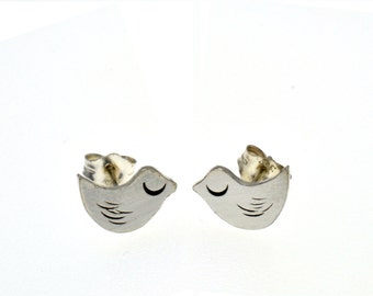 Sterling Silver Bird Studs - post earrings tweet chirp fly woodland