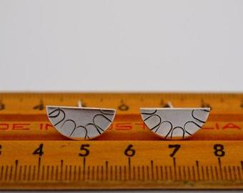 Geometric sterling silver earrings half moon semi circle triangle pattern - geo post studs
