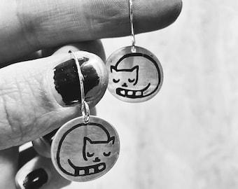 Sleeping cat sterling silver dangle drop earrings
