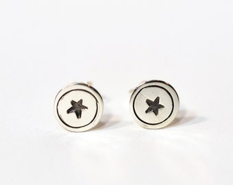 Tiny round star or heart stamped  Sterling Silver Post Earrings