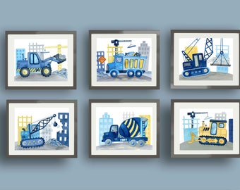Construction trucks boys nursery art prints