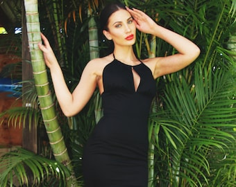 Dulce Black Halter Dress