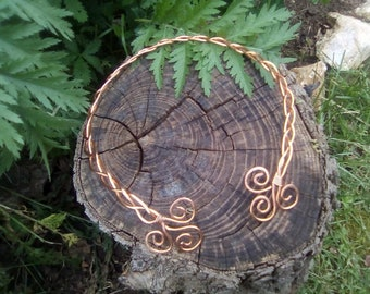 Celtic copper braided torc necklace TRISKEL