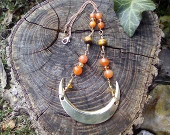 brass moon and gemstones necklace OOAK