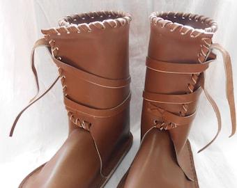 Leather celtic, viking, medieval boots - 25cm