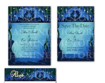 Little Mermaid Wedding Invitation, Save The Date, or RSVP
