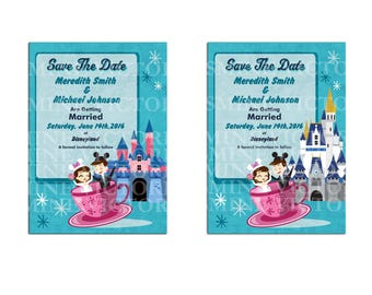 Retro Bride and Groom Disney Wedding Save The Date Digital File