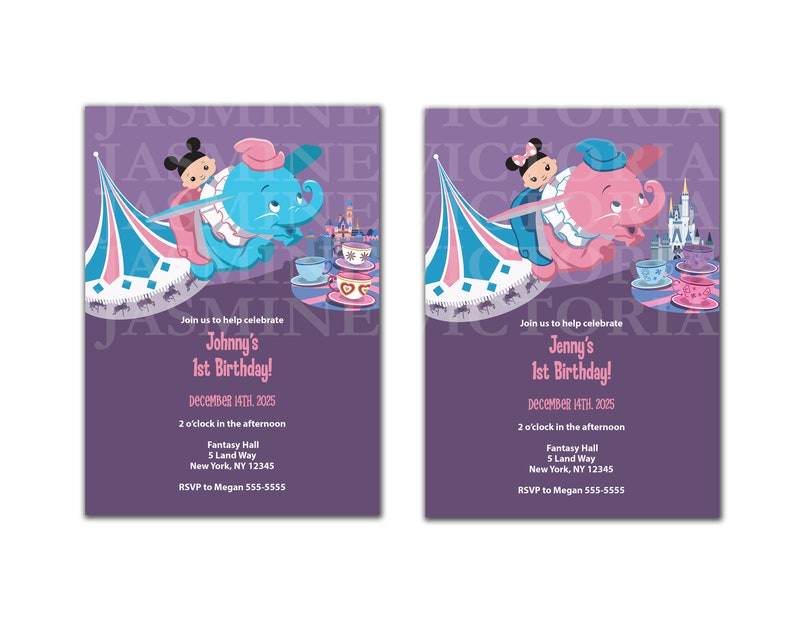 Dumbo Customize Baby Birthday Invitation Or Label Digital Files You Pick The Baby Skin And Elephant