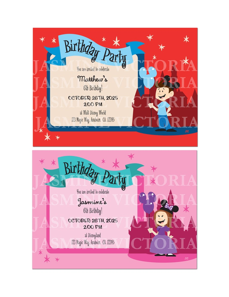 Disneyland Boy Girl Birthday Invitation 5 By 7