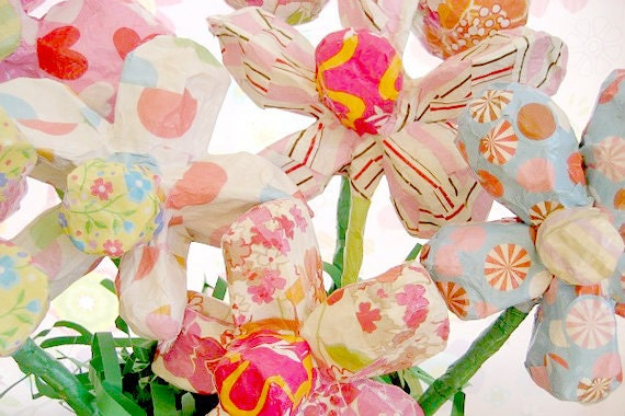 Paper mache flowers made to order size medium etsy image 0 mightylinksfo