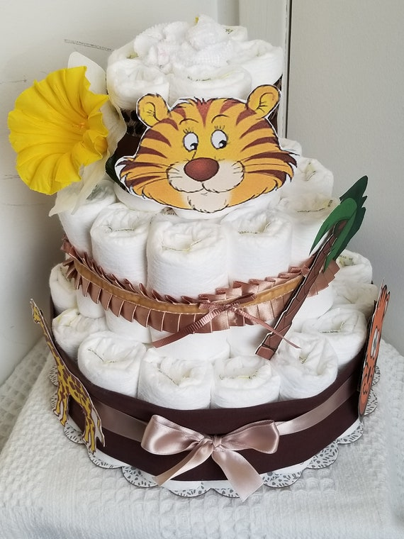 Baby Diaper Cake Zoo Animals Shower Gift or Centerpiece