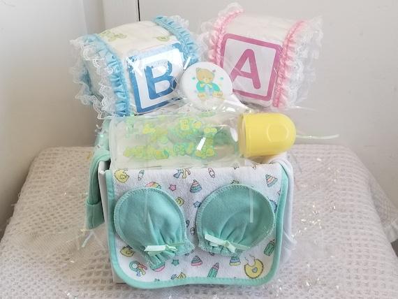 Alphabet Baby Block Diaper Cake Baby Shower Gift Set Basket Centerpiece