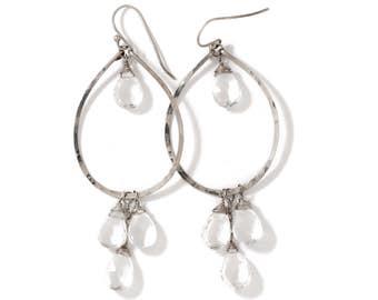 Clear Quartz Silver Teardrop Hoop Earrings - Crystal Quartz Earrings - Hammered Sterling Silver Hoops - Silver and Quartz Dreamcatcher Hoops