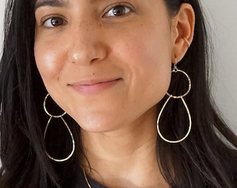 Long Double Drop Earrings / Double Tier Hammered Long Gold Earrings / Long Silver Earrings / 3 Inch Long Rose Gold Earrings / Lightweight