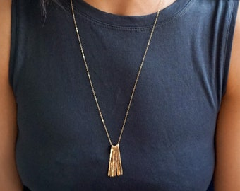 Long Fringe Necklace - XL Different Strokes Necklace - Everyday Necklace Long - Gold Layering Necklace / Layer Necklace