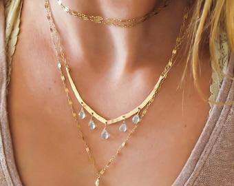 Blue Aquamarine Gold Necklace -  Hammered Wide V and Pale Blue Aquamarine Gemstone Necklace - Delicate Gold Necklace with Aquamarine Stones
