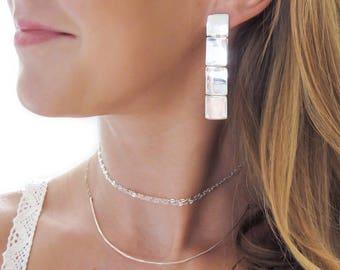 Four Square Post Earrings - Long Large Posts - Sterling Silver Square Earrings - Geometric Earrings - Four Square Earrings Gold or Silver
