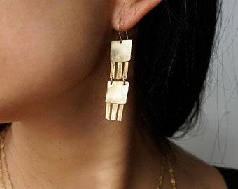 Long Geometric Drop Earrings - Double Jellyfish Earrings - Matte Long Dangle Drop Earrings in Gold Brass or Silver - Long Rectangle Earrings