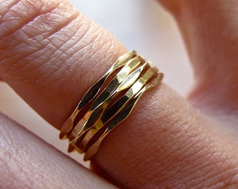 Thin Gold Rings / Mixed Set of Five Gold Stacking Rings / Dainty Gold Rings / Delicate Stacking Rings / Gold Stack Rings / Stackable Rings