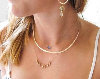 Gold Choker Necklace - Hammered Curved Bar Necklace - Silver Curved Arc Necklace - Collar Necklace - Rose Gold Fill Choker / Crescent Collar
