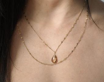 Champagne Quartz Choker Wrap Necklace - Silver or Gold Double Strand Necklace Champagne Quartz / Champagne Quartz - Long Layered Necklace